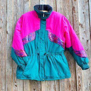 Ski-Doo Bombardier 80s 90s Vintage Winter Coat Snow Jacket Pocono Parka Neon